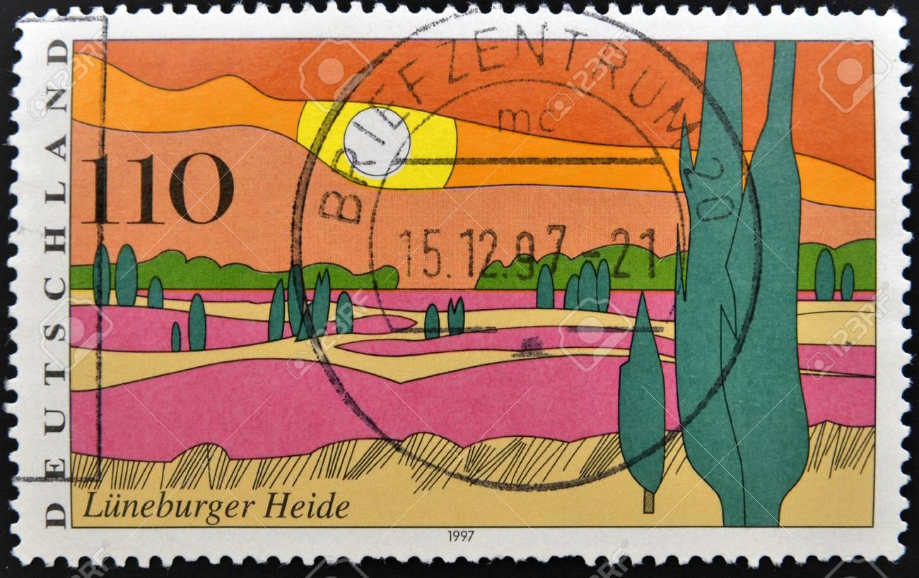 GERMANY - CIRCA 1997: stamp printed in Germany shows Luneburg Heath, circa 1997. Stock Photo - 13874863