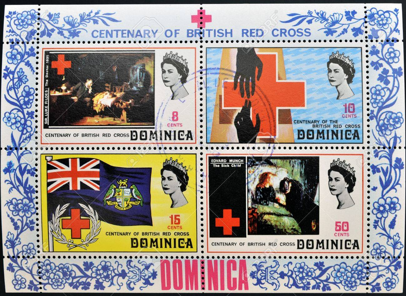 DOMINICA - CIRCA 1970  Collection stamps dedicated to centenary of the British Red Cross, circa 1970 Stock Photo - 14145002