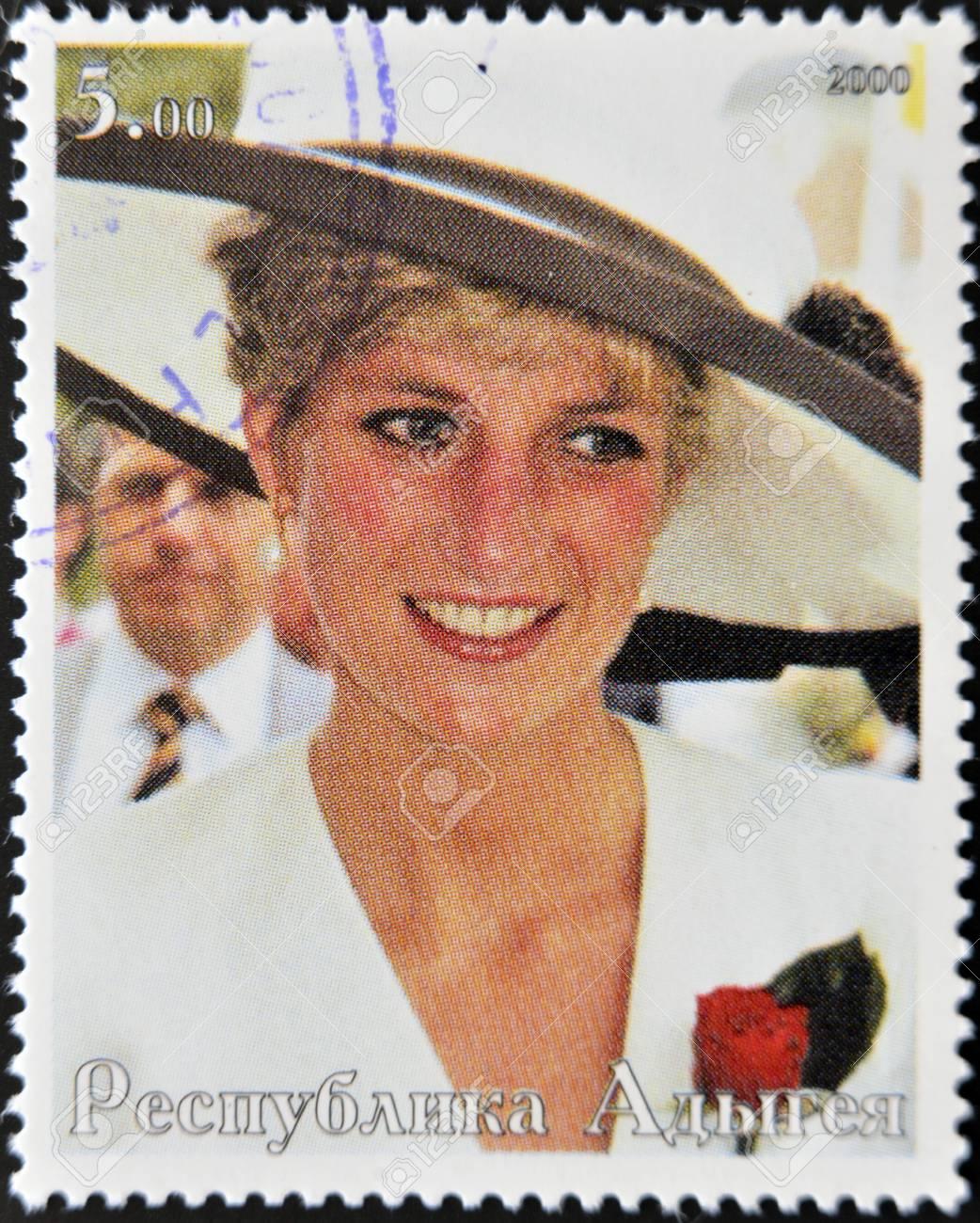 ABKHAZIA - CIRCA 2000   Stamp printed in Abkhazia shows portrait  Princess Diana of Wales, circa 2000 Stock Photo - 14277656