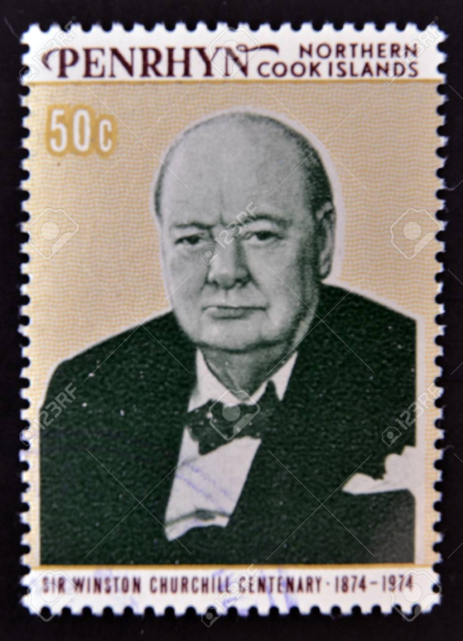 COOK ISLANDS - CIRCA 1974 : Stamp printed in Cook Islands , shows image of sir Winston Churchill, 1874-1974, circa 1974  Stock Photo - 14521093