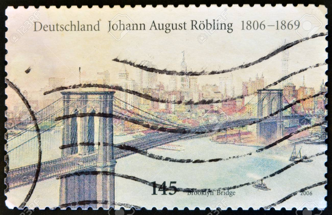 GERMANY - CIRCA 2006: A stamp printed in Germany shows Brooklyn Bridge, circa 2006  Stock Photo - 14596869