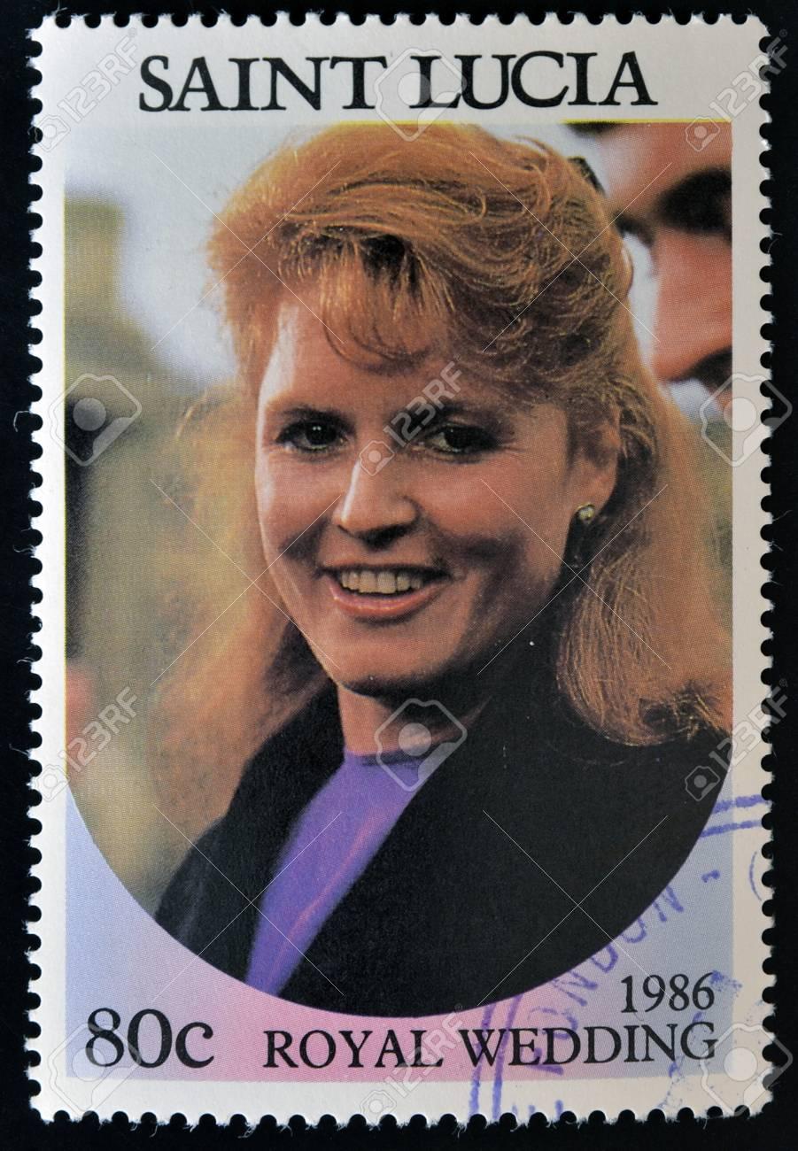SAINT LUCIA - CIRCA 1986: A stamp printed in Saint Lucia shows  a portrait of  Sarah Margaret Ferguson,the royal wedding commemorative, circa 1986 Stock Photo - 14596862
