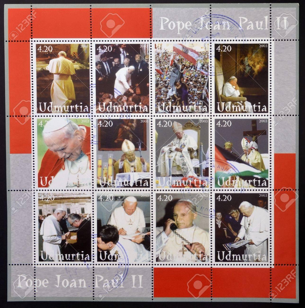 UDMURTIA - CIRCA 2003  Collection stamps printed in Udmurtia shows Pope John Paul II, circa 2003 Stock Photo - 14803330