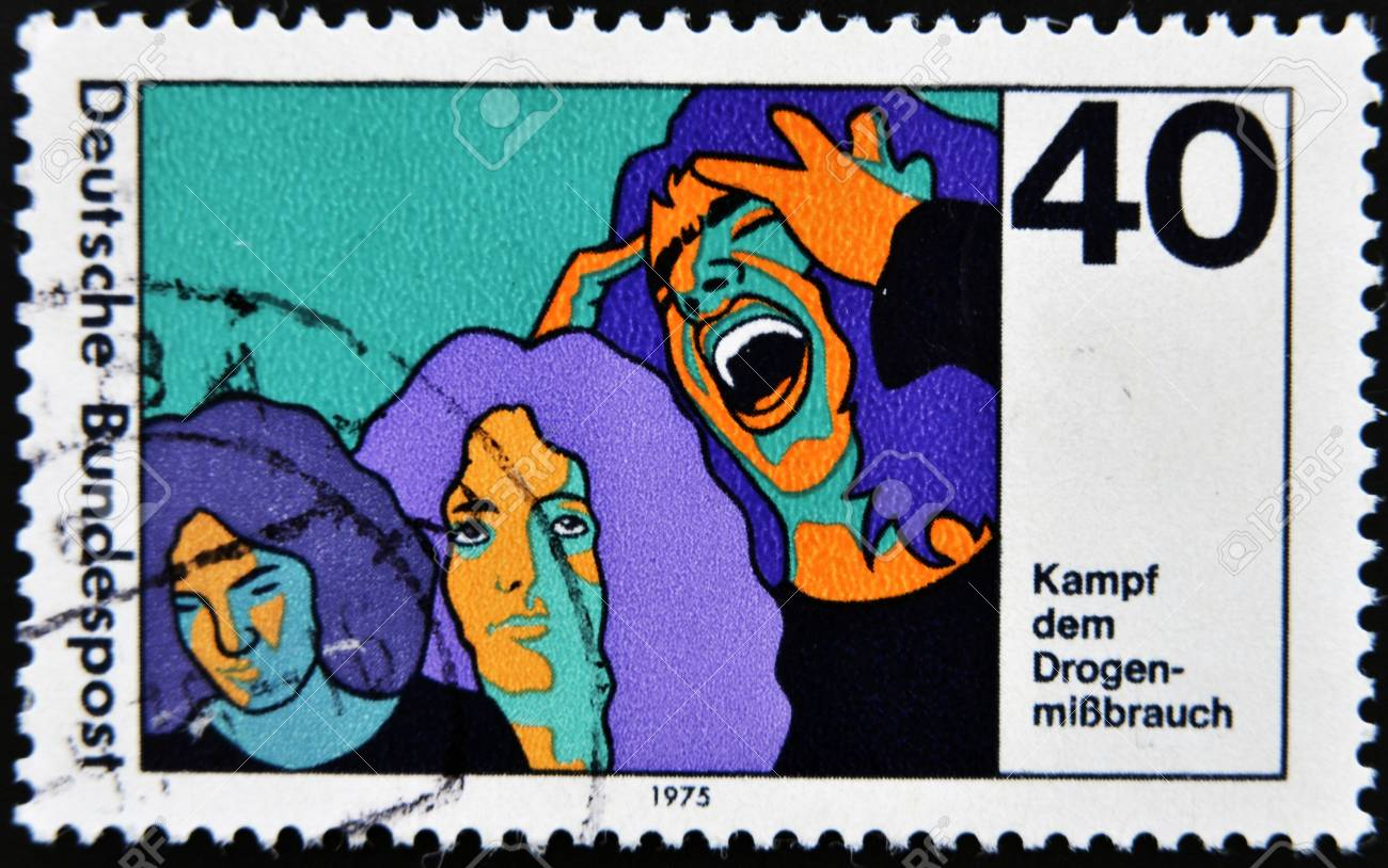 GERMANY - CIRCA 1975: A stamp printed in Germany dedicated to the fight against drugs in young, circa 1975 Stock Photo - 14938775