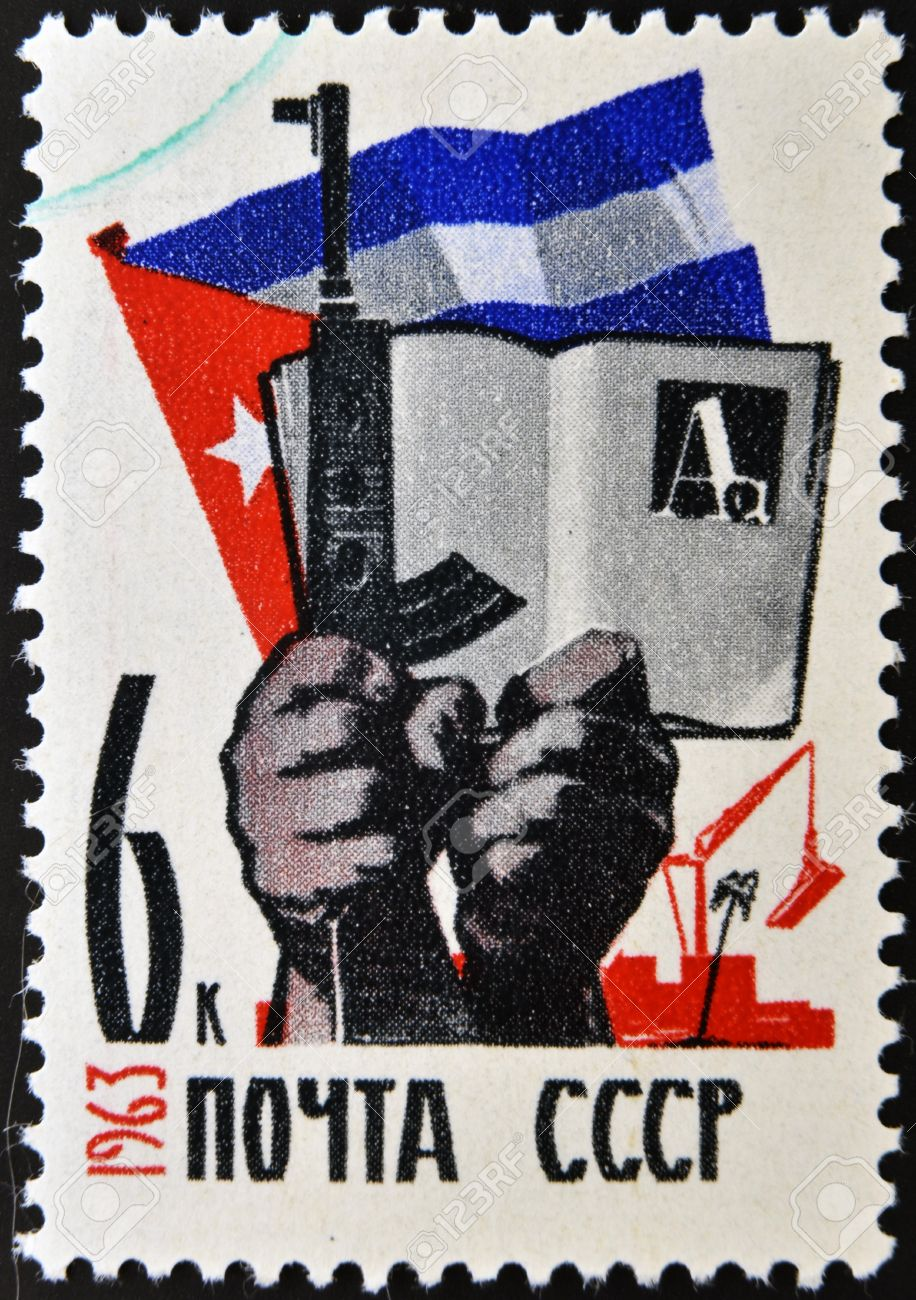 USSR - CIRCA 1963: A stamp printed in Russia shows Cuban flag,