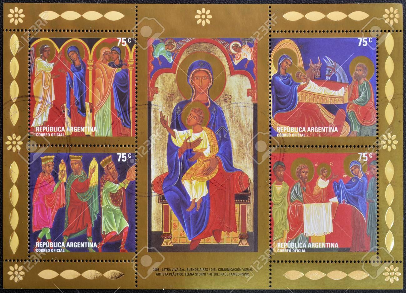 ARGENTINA - CIRCA 2005: A christmas stamp shows different Nativity Scenes, circa 2005  Stock Photo - 16020401