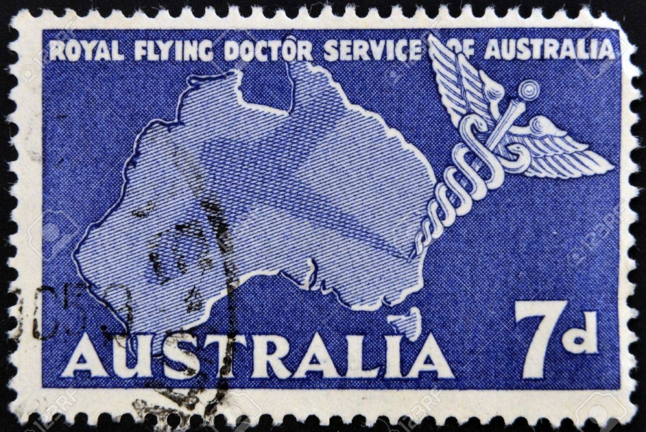 AUSTRALIA - CIRCA 1958: A stamp printed in Australia shows Royal Flying Doctor Service of Australia, Caduceus and Map of Australia, circa 1958 Stock Photo - 16306907