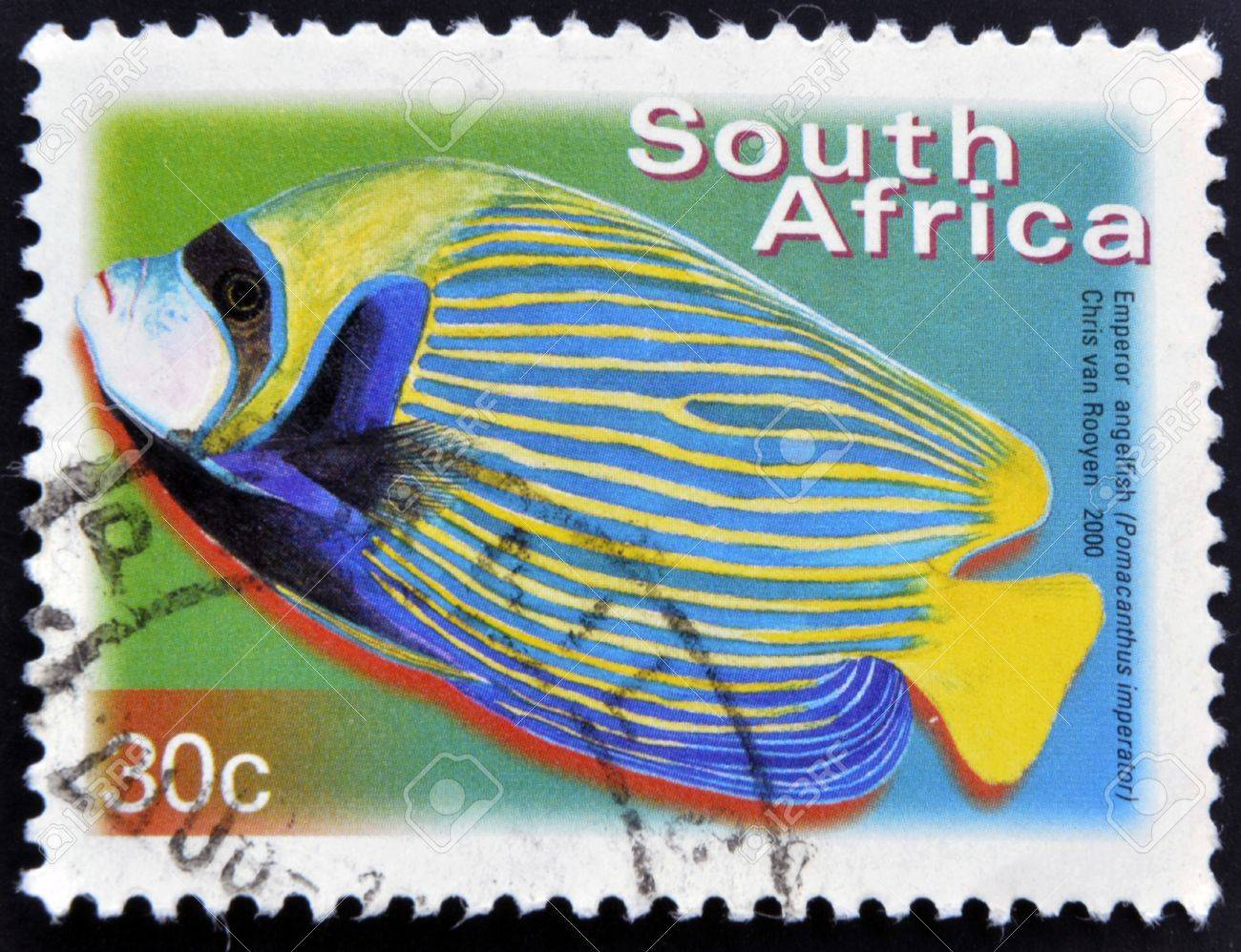 SOUTH AFRICA - CIRCA 2000: A stamp printed in RSA shows emperor angelfish, Pomacanthus imperator, circa 2000 Stock Photo - 16959210