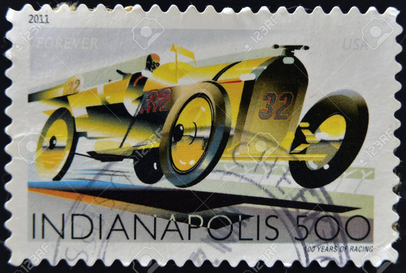 UNITED STATES OF AMERICA - CIRCA 2011: A stamp printed in USA dedicated to Indianapolis, 100 years of racing, circa 2011 Stock Photo - 17289526