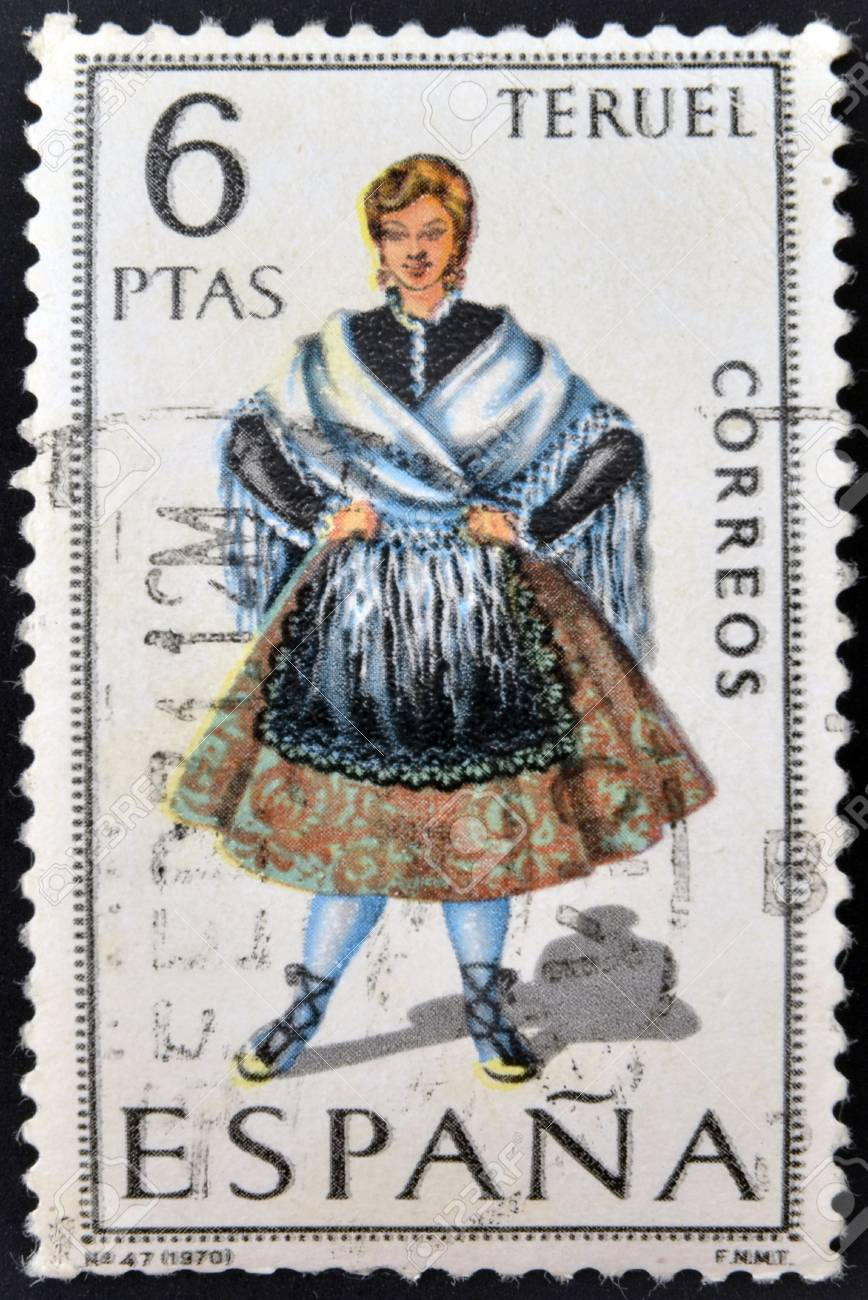 SPAIN - CIRCA 1970: A stamp printed in Spain dedicated to Provincial Costumes shows a woman from Teruel, circa 1970 Stock Photo - 20009919