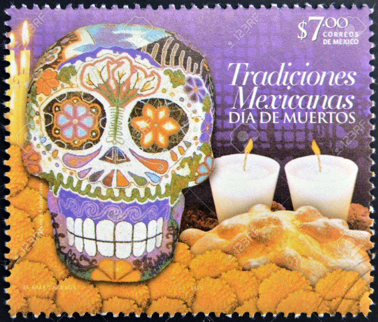 MEXICO - CIRCA 2012: A stamp printed in Mexico dedicated to Mexican traditions, showing Day of the Dead, circa 2012 Stock Photo - 20404845