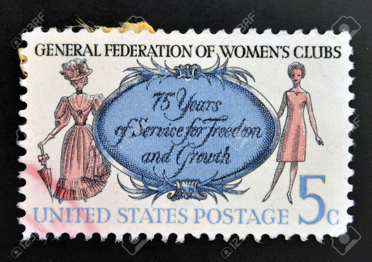 UNITED STATES OF AMERICA - CIRCA 1966: A stamp printed in USA shows Women of 1890 and 1966, General Federation of Womens Clubs, circa 1966  Stock Photo - 20399691