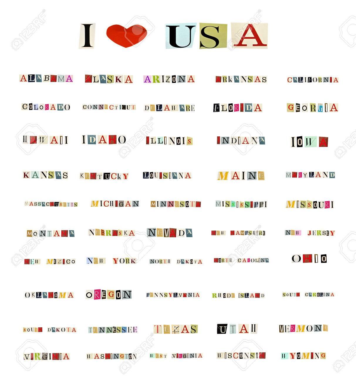 Alle 50 Bundesstaaten Der Vereinigten Staaten Von Amerika Mit