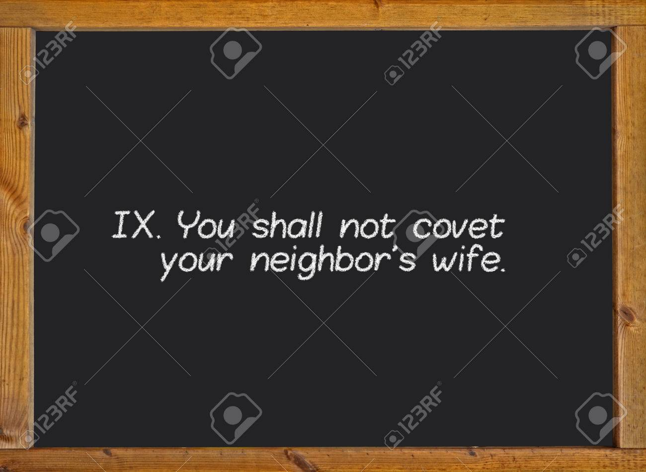 The Ninth Commandment Of Christian Catholic On A Blackboard Stock ...
