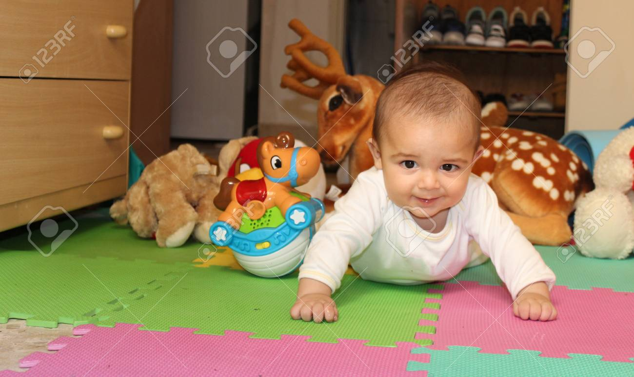 6 Months Old Baby Boy Playing With Toys