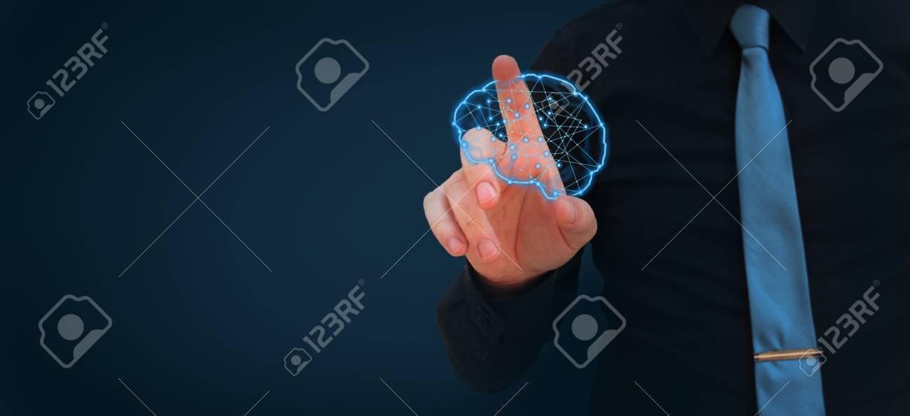Human hand polygonal glowing brain - artificial intelligence