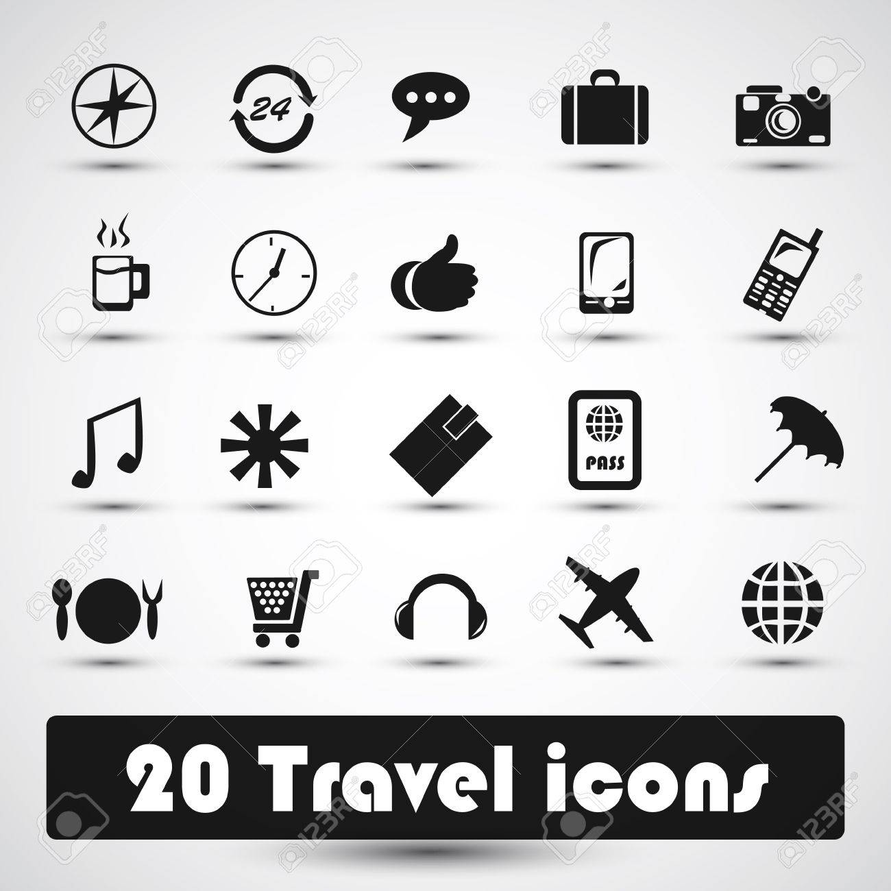20 travel icon with gray Stock Vector - 16937788