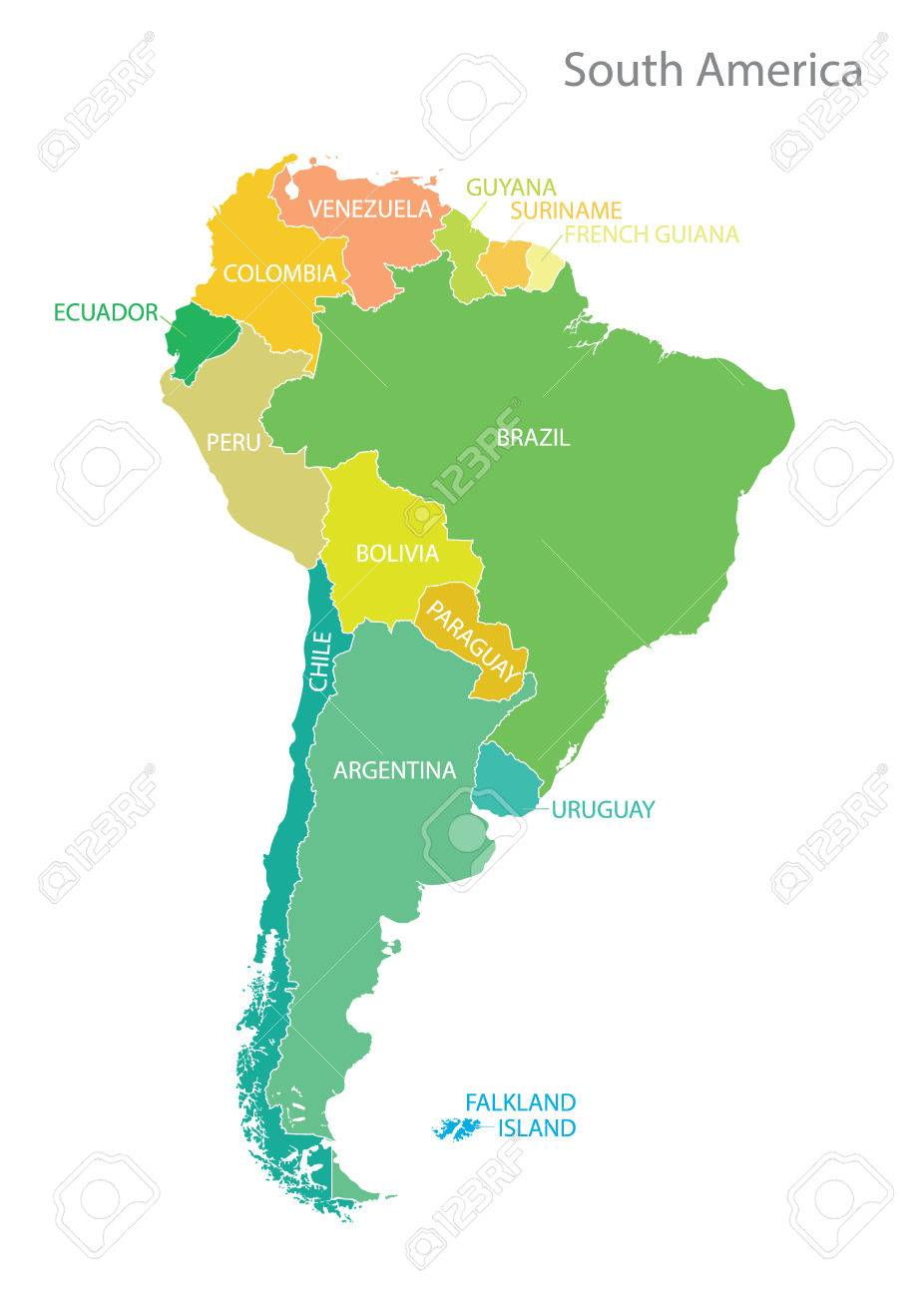 South America Map With Names, Vector. Royalty Free Cliparts