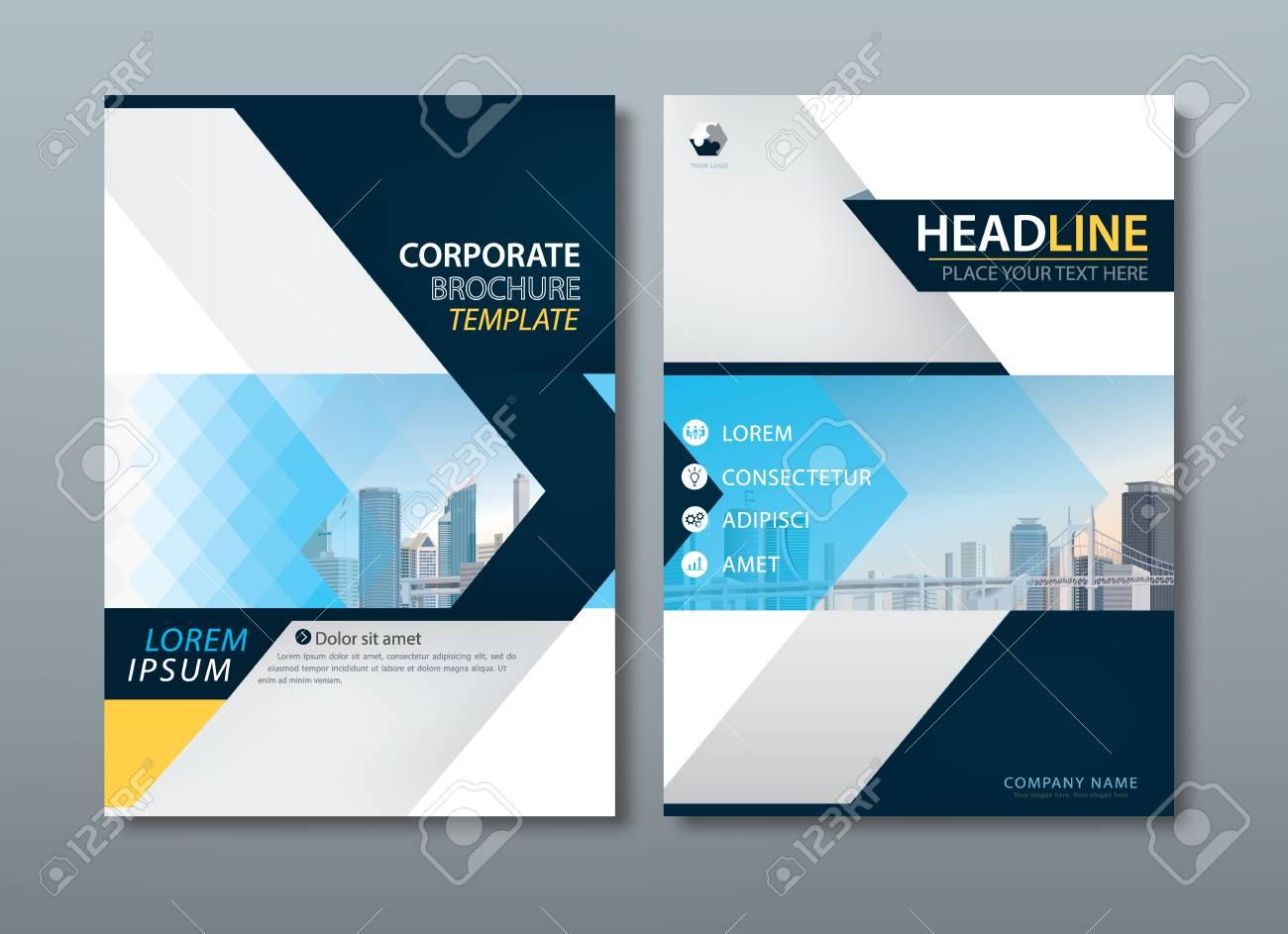 Blaue Gelbe Flyer Design Vorlage Vektor, Leaflet Cover Präsentation ...
