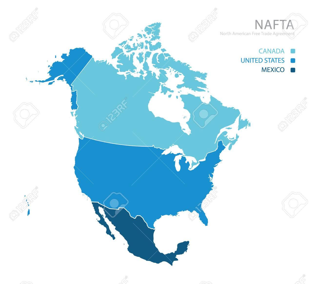 Map of nafta north american free trade agreement royalty free map of nafta north american free trade agreement stock vector 75208461 platinumwayz