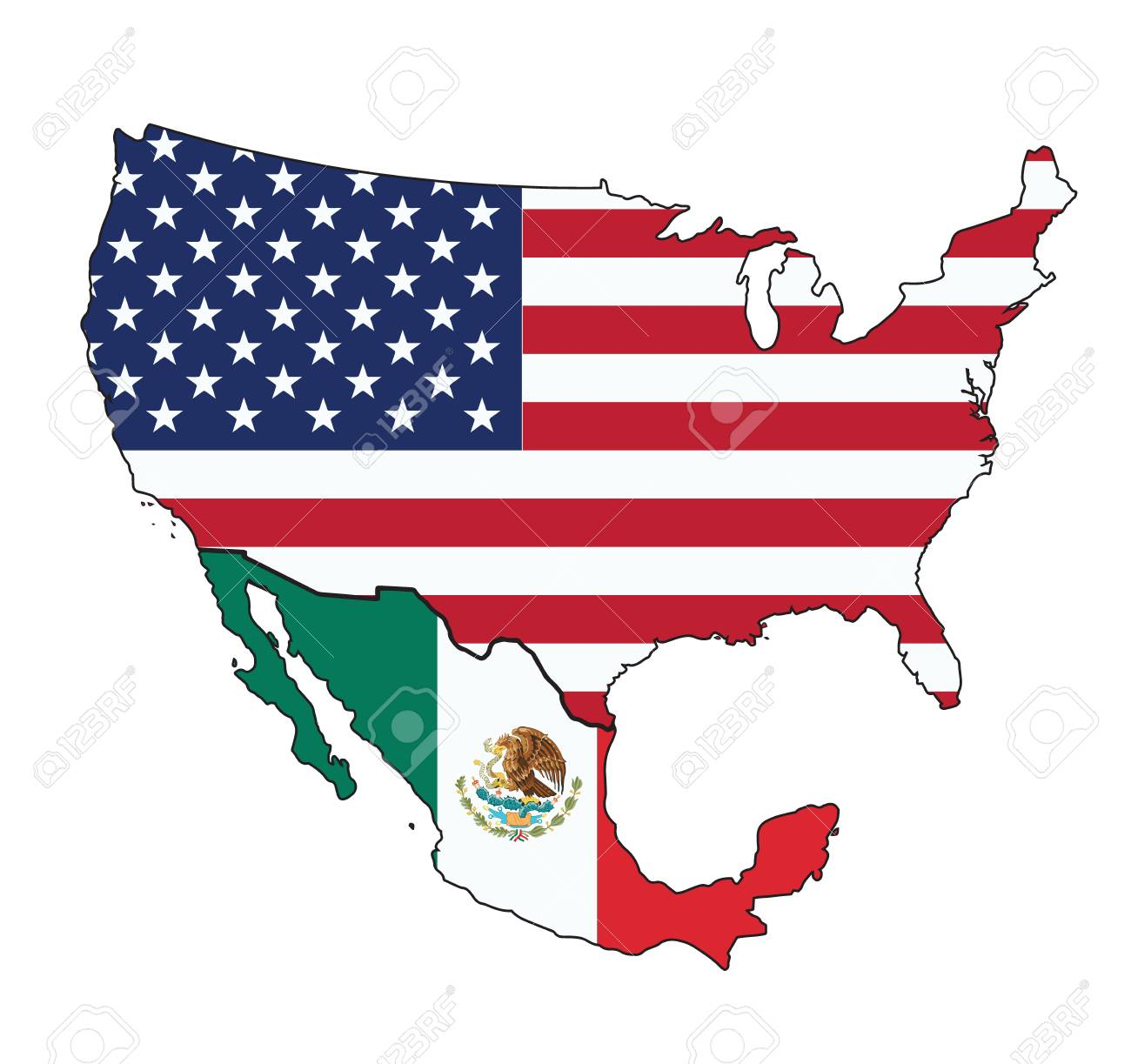 Map Of Usa And Mexico Vector Royalty Free Cliparts Vectors And