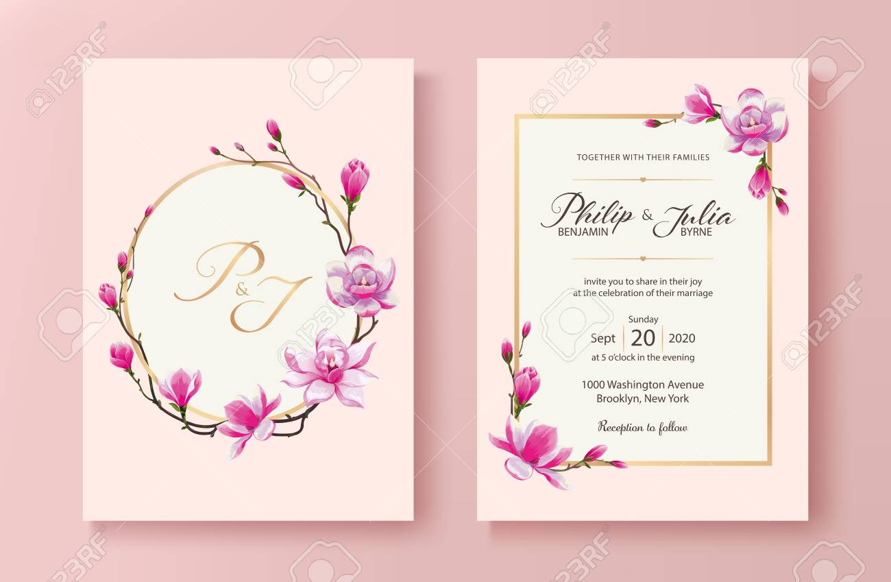 Beautiful Pink Floral Wedding Invitation Card Vector Magnolia