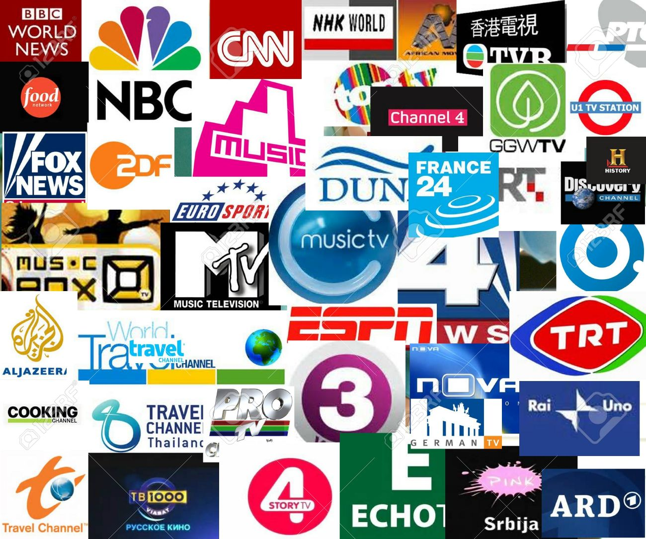 World tv stations collage