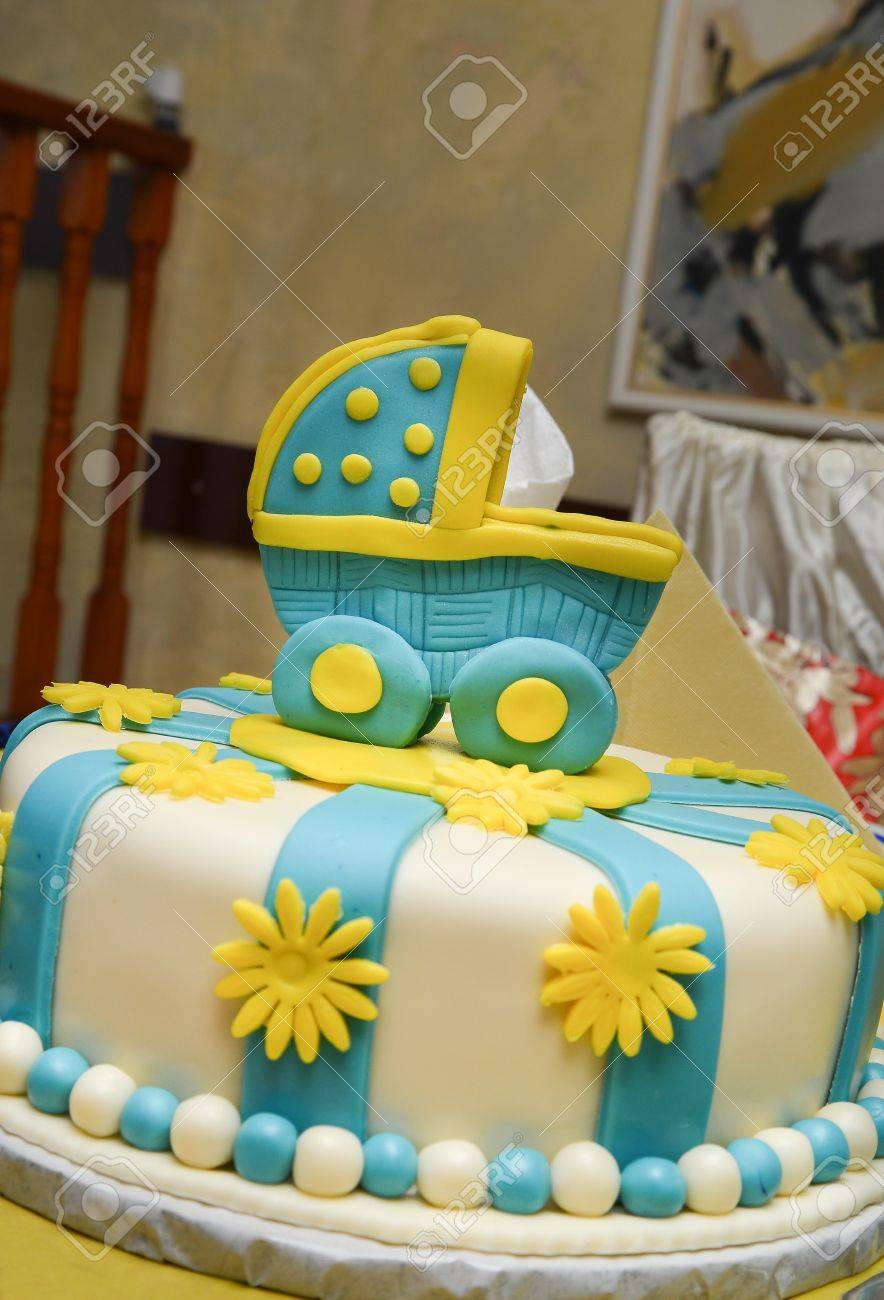 Pleasant Baby Boy Birthday Cake With Cute Carriage Stock Photo Picture And Funny Birthday Cards Online Elaedamsfinfo