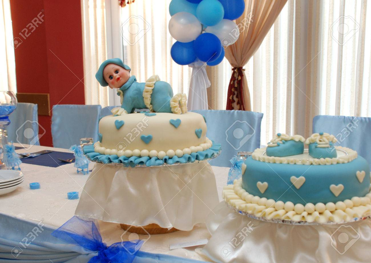 Baby Boy Birthday Cake With Cute Doll Stock Photo Picture And