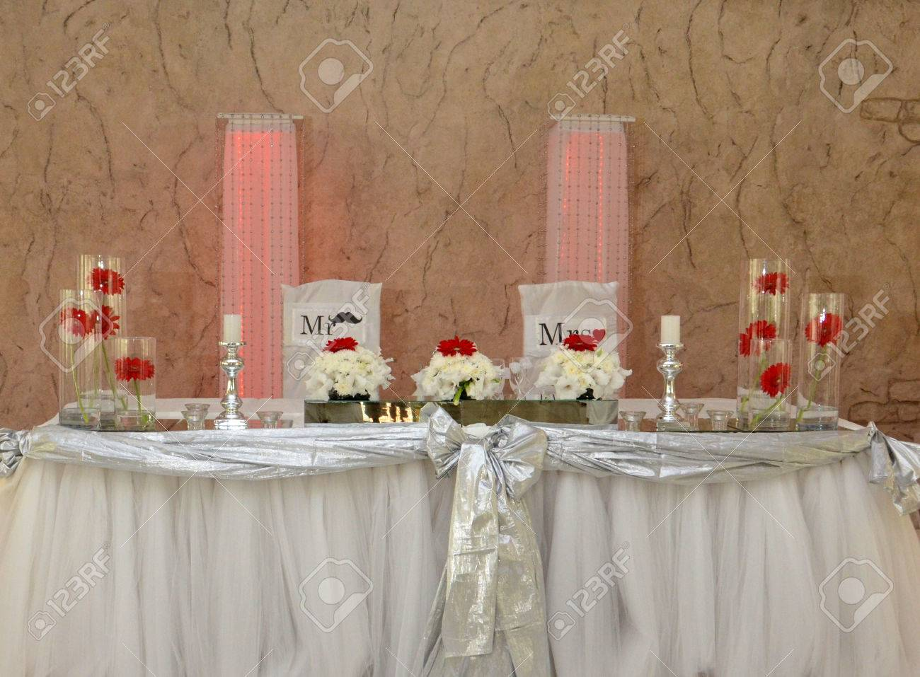 Marvelous Bride And Groom Table Decoration Stock Photo   29835652