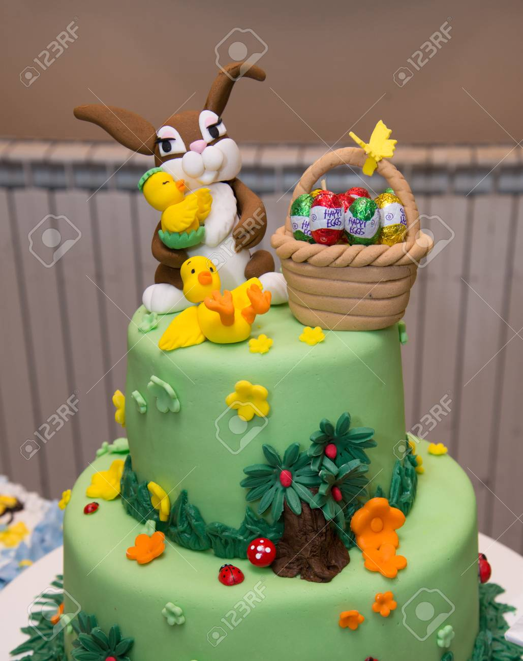 Baby Boy Birthday Cake With Bunny Decoration Easter Stock Photo