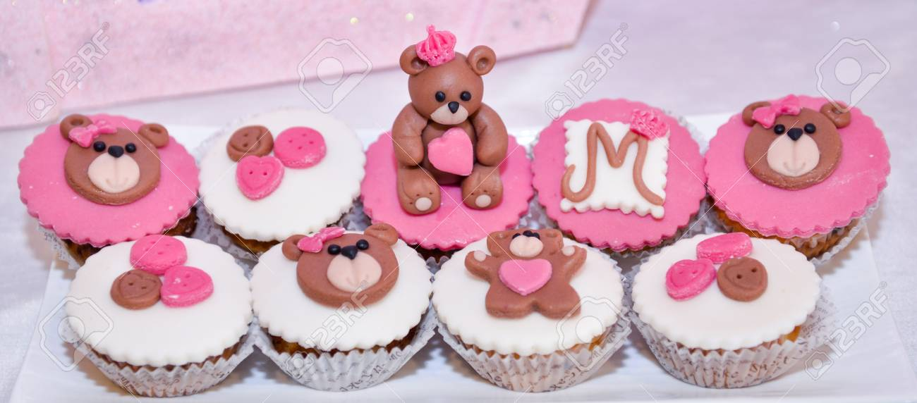 Baby Girl Birthday Cupcakes With Teddy Bearimage Of A Stock Photo