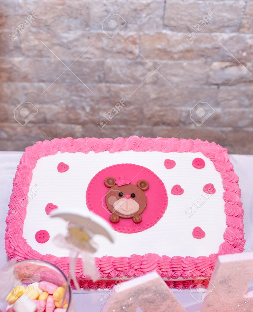 Admirable Baby Girl First Birthday Cake With Teddy Bear Image Of A Royalty Funny Birthday Cards Online Sheoxdamsfinfo