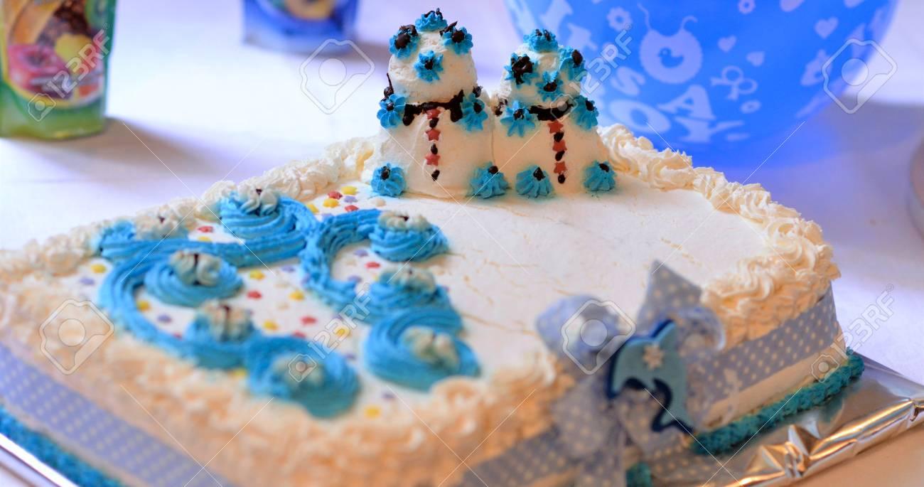 Superb Baby Boy Birthday Cake On A Table Image Of A Stock Photo Funny Birthday Cards Online Inifodamsfinfo