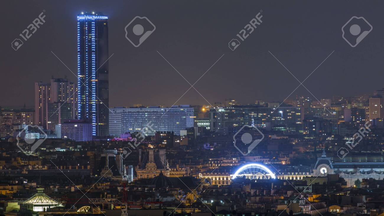 Beautiful Paris Night Cityscape Timelapse Seen From Montmartre Stock Photo Picture And Royalty Free Image Image 109209196