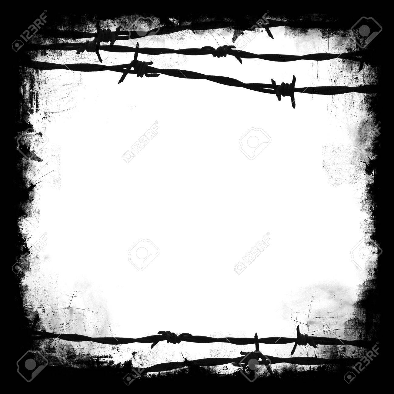 Barbed Wire Black Square Frame Border With White Blank Middle ...