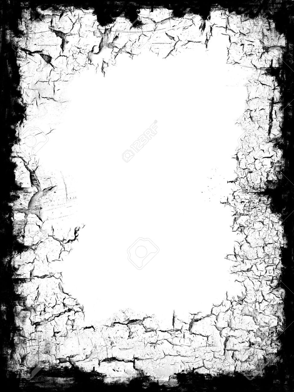 Distressed Black Frame Border With White Blank Middle For Your ...