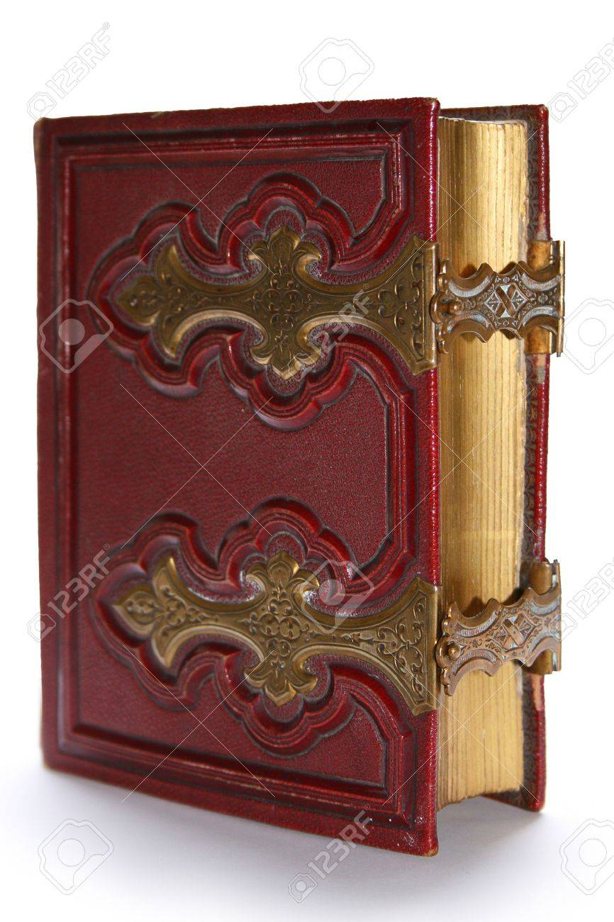 Old dark red antique book, with golden clasp and pages Stock Photo - 6073642