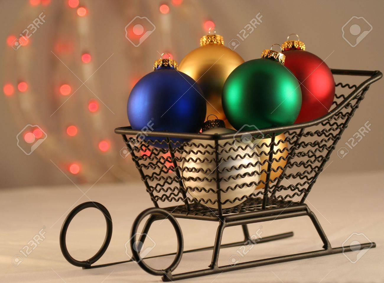 Red green and white christmas ornaments - A Christmas Sleigh Of Blue Gold Green Red And White Ball Ornaments With