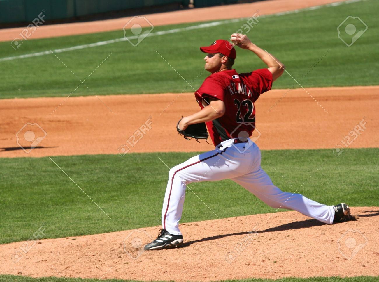 Arizona Diamondbacks pitcher Aaron Heilman in a game against the Los Angeles Angels on March 11, 2010, at Tucson Electric Park in Tucson, Arizona, during spring training. Stock Photo - 6890484