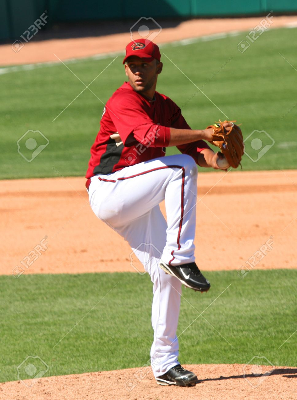 Jordan Norberto pitches in an Arizona Diamondbacks game against the Los Angeles Angels on March 11, 2010, at Tucson Electric Park in Tucson, Arizona, during spring training. Stock Photo - 6890938