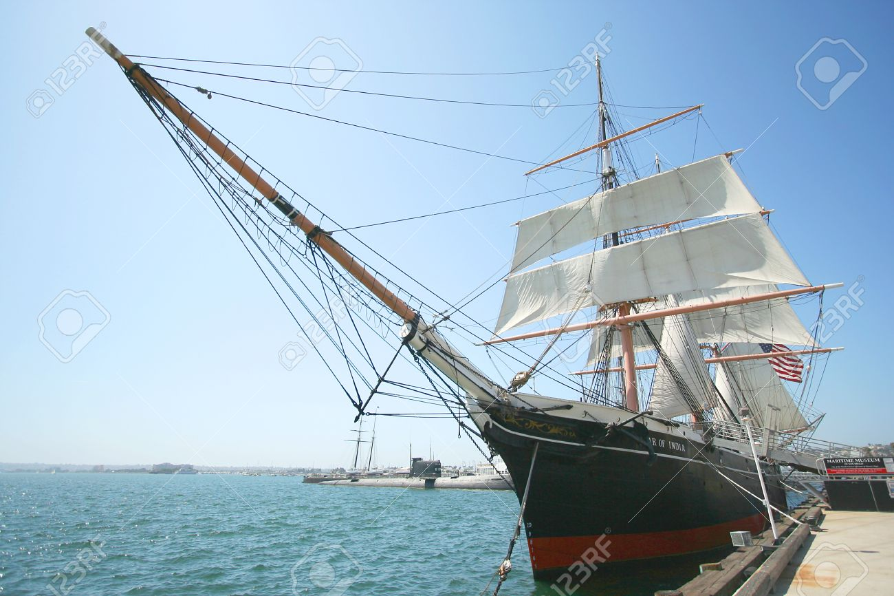 A View of the Star of India Merchant Sailing Ship at the Maritime Museum of San Diego taken July 15, 2009 - 8807769
