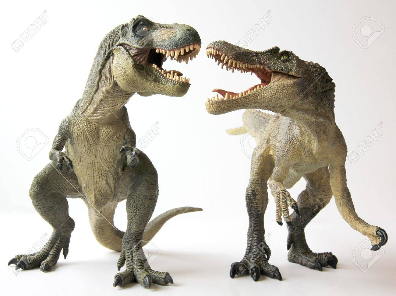 A Tyrannosaurus Rex Dinosaur Battles with a Spinosaurus - 9077272