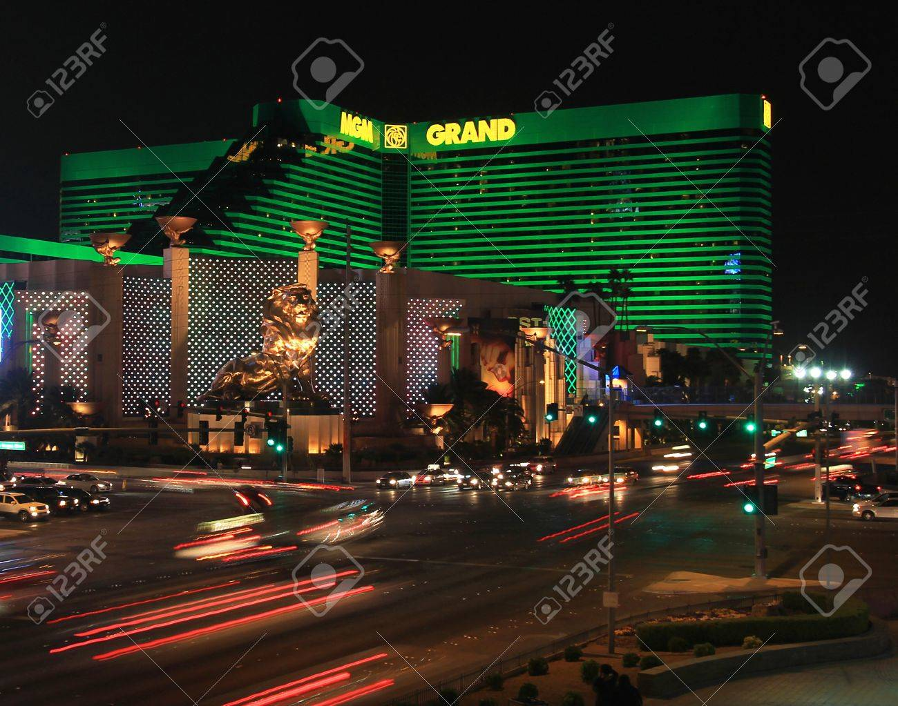 A night shot of the MGM Hotel and Casino taken in Las Vegas, Nevada, on March 16, 2011. - 9364208