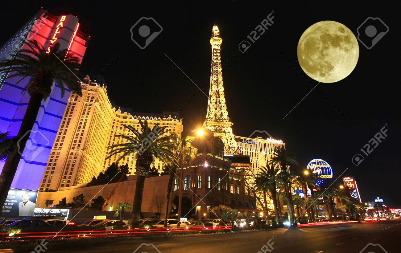 A full moon over Paris on the Strip taken in Las Vegas, Nevada, on March 16, 2011. Composite. - 9548074