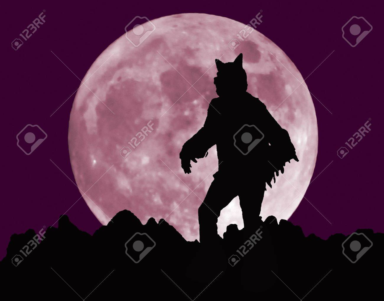 A Werewolf Stands Atop a Jagged Horizon Before the Rising of a Full Moon - 10552188