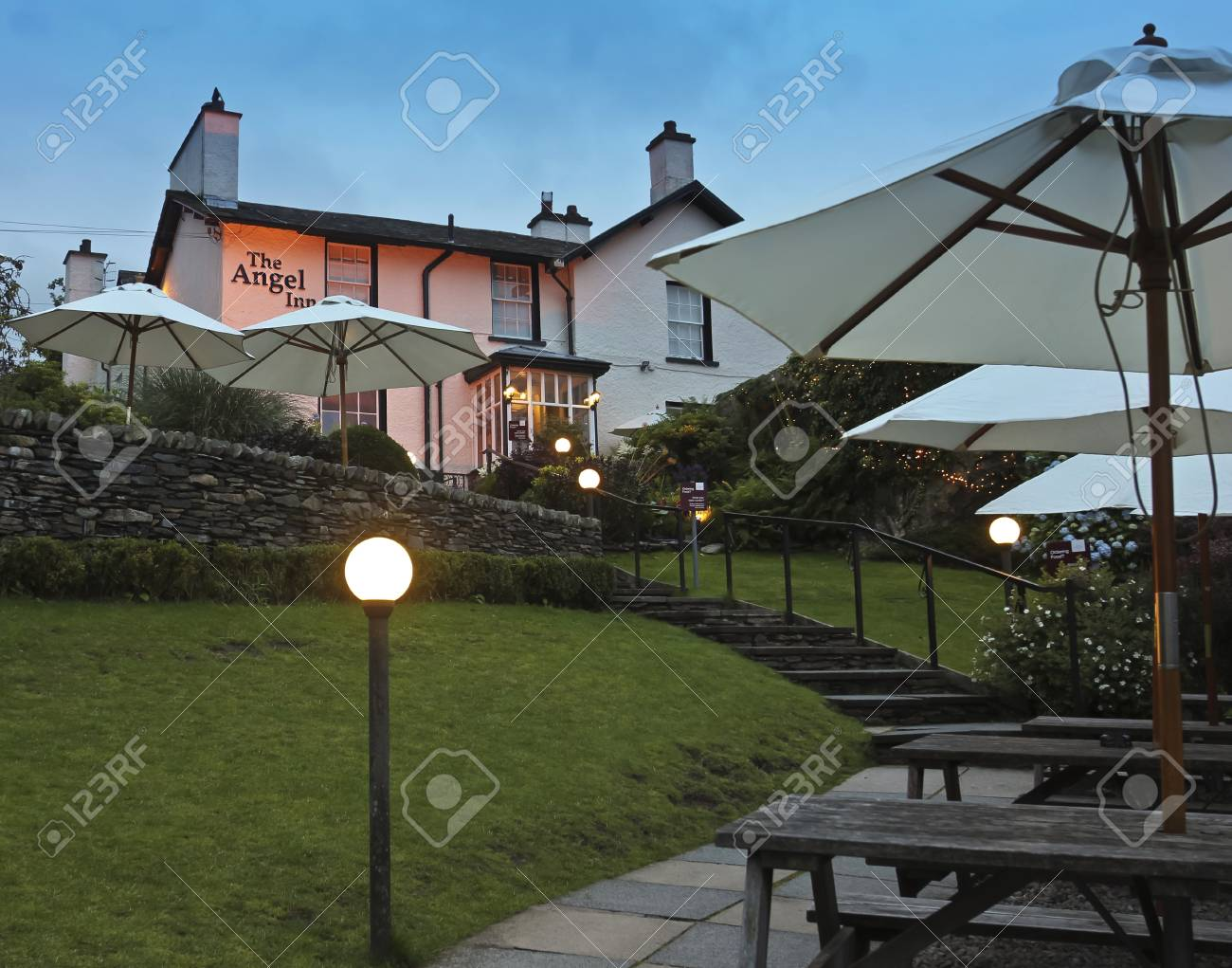 South Lakeland, Cumbria - July 22: The Angel Inn on July 22, 2012, in Bowness-on-Windermere, South Lakeland, Cumbria. This town on the banks of Lake Windermere is a tourist honeypot. Stock Photo - 15132331