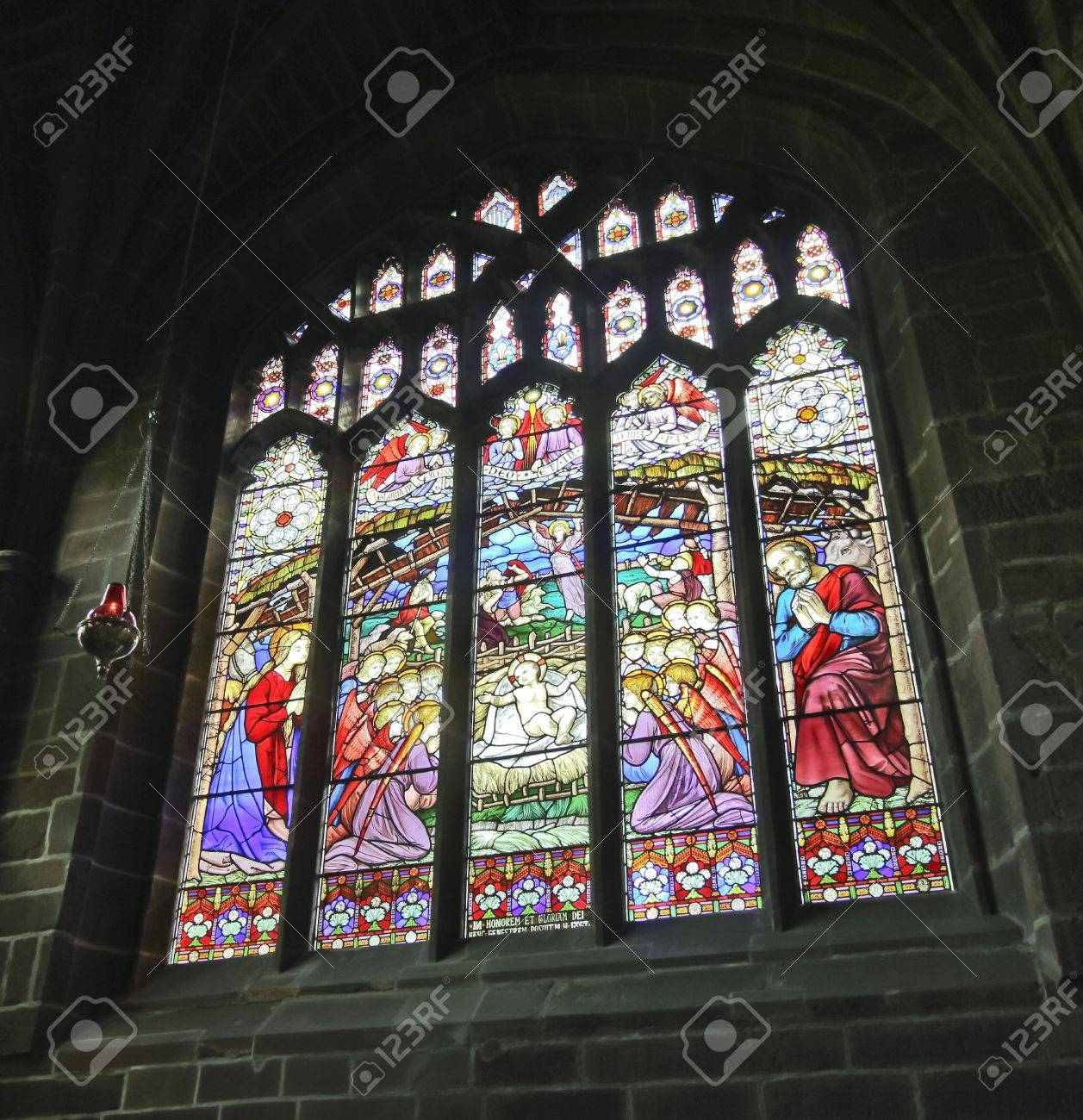 A Colorful Stained Glass Cathedral Window Nativity Scene At ...