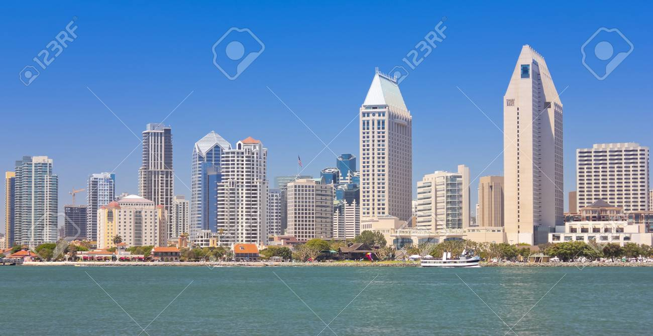 A View Of San Diego Bay And Downtown On Sunny Day Stock Photo
