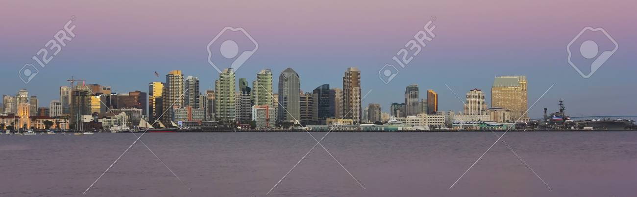 A View of San Diego Bay and Downtown San Diego on at Twilight Stock Photo - 23309239
